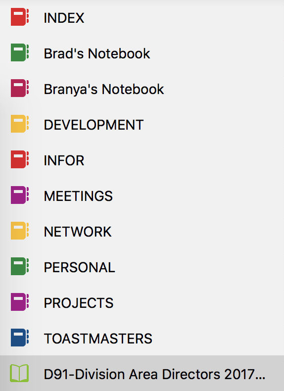 A list of the OneNote Notebooks that I have setup.