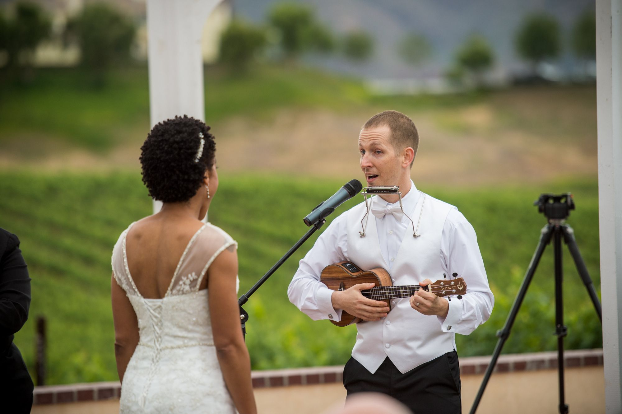 Surprising my wife by playing the Ukulele and Harmonica as well as singing at our wedding